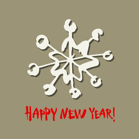 Happy new year text. White snowflake on gray background. White and red brush calligraphy. Christmas vector card Stock Illustratie