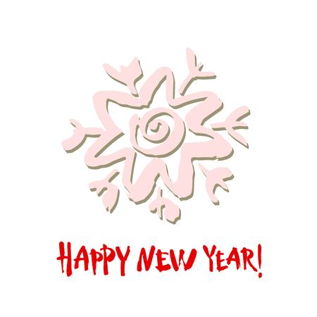 Happy new year text. White snowflake on white background. White, gray and red brush calligraphy. Christmas vector card