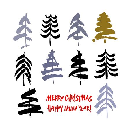 Happy new year text. Merry Christmas text. Black and color brush calligraphy on white vector background with abstract christmas trees