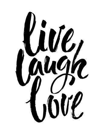 """Handgezeichnetes Typografie-Poster. Inspirierendes Zitat """"Live-Lachen-Liebe"""". Für Grußkarten, Valentinstag, Hochzeit, Poster, Drucke oder Heimtextilien. Moderne Kalligraphie mit Pinseltinte. Vektor-Illustration Vektorgrafik"""