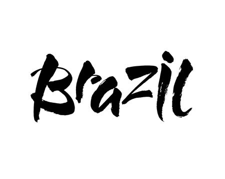 Brasil hand lettering. Brazil in portuguese. Name of country. Hand drawn lettering background. Ink illustration. Modern brush calligraphy. Isolated on white background. Vector