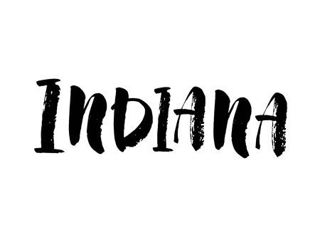 Indiana. Modern brush lettering. Retro typography print. Vector handwritten inscription. USA state. Modern brush calligraphy. Vector