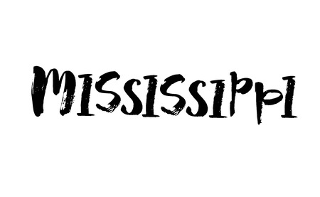 Handwritten american state name Mississippi. Calligraphic element for your design. Modern brush calligraphy. Vector Illusztráció
