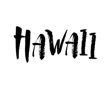 Hawaii, conception de texte. Affiche de typographie. Utilisable comme arrière-plan. Calligraphie au pinceau moderne. Lettrage à la main à l'encre. Illustration vectorielle Vecteurs
