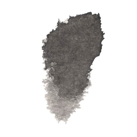 Vector black ink blot isolated on a white background. Grunge texture.