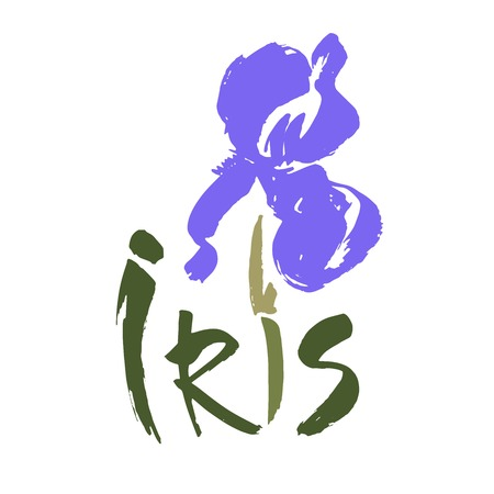 Vector flower logo. Floral background. Calligraphy ink. Stylized calligraphic ink iris. Logo