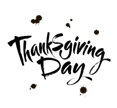 Thanksgiving Day Hand drawn lettering card. Vector ink calligraphy art. Modern brush calligraphy.