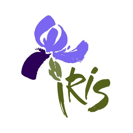 Floral background. Calligraphy ink. Stylized calligraphic ink iris.