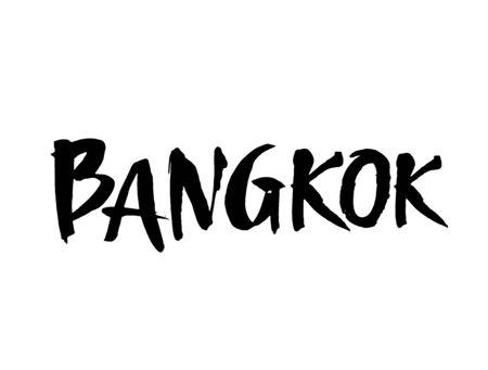 Bangkok hand-lettering calligraphy. Hand drawn brush calligraphy. City lettering design. Vector