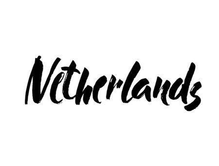 Netherlands hand drawn ink brush lettering Calligraphy word Netherlands