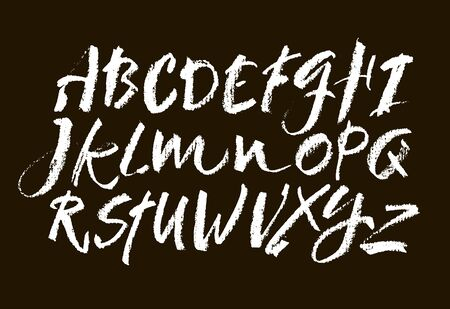 Vector Pastel ou Chalk Style Police Alphabet dessinés à la main. Alphabet de calligraphie sur fond noir. Lettrage à la main pastel.