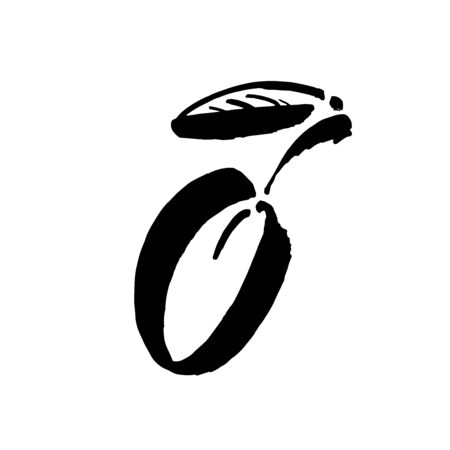 Plum vector sketch icon isolated on background. Hand drawn ink brush illustration. Icon for infographic, website or app