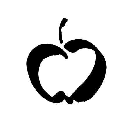 Apple vector sketch icon isolated on background. Hand drawn ink brush illustration. Apple sketch icon for infographic, website or app.