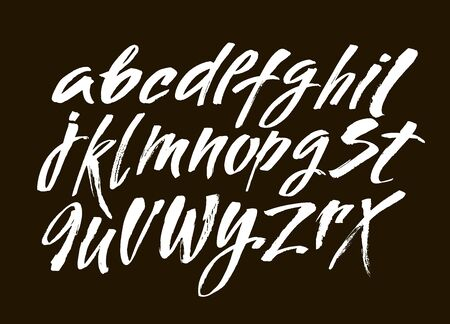 Vector Acrylic Brush Style Hand Drawn Alphabet Font. Calligraphy alphabet on a black background. Ink hand lettering.