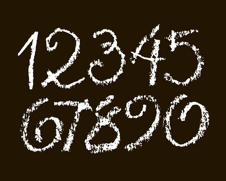vector set of calligraphic pastel or chalk numbers. ABC for your design, chalk lettering on a black background