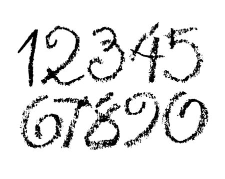 vector set of calligraphic pastel or charcoal numbers. ABC for your design, charcoal lettering on a white background