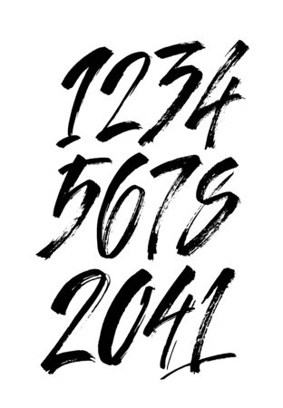 vector set of calligraphic acrylic or ink numbers. ABC for your design, brush lettering on a white background