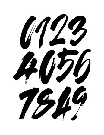 set of calligraphic acrylic or ink numbers. ABC for your design, brush lettering on a white background Illustration