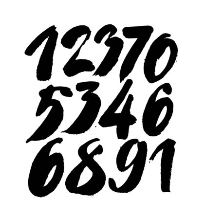set of calligraphic acrylic or ink numbers. ABC for your design, brush lettering on a white background Vektorové ilustrace