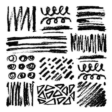 Set of oil pastel brush strokes and design elements. Grunge vector illustration. Çizim