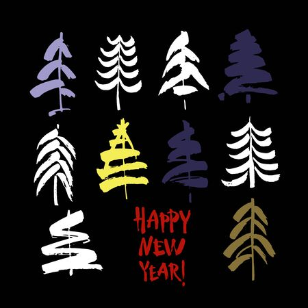 Happy new year text. Brush calligraphy on black background with abstract christmas trees. Vector
