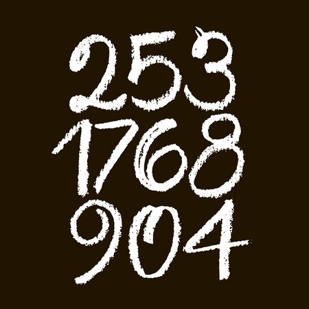 set of calligraphic pastel or chalk numbers. ABC for your design, pastel lettering on a black background
