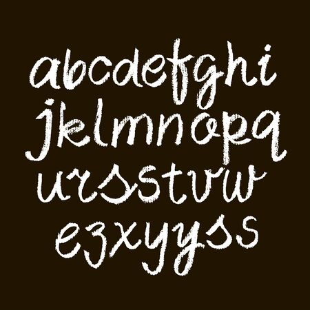 Vector Pastel or Chalk Style Hand Drawn Alphabet Font. Calligraphy alphabet on a black background. Pastel hand lettering.