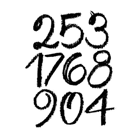 set of calligraphic pastel or charcoal numbers. ABC for your design, pastel lettering on a white background Vektorové ilustrace