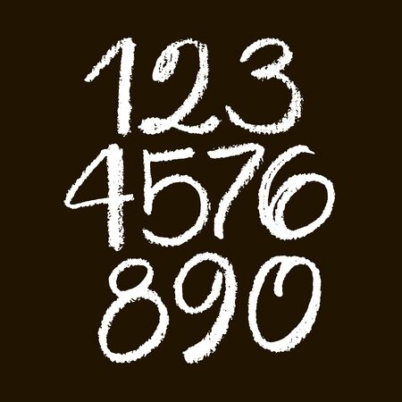 set of calligraphic pastel or chalk numbers. ABC for your design, pastel lettering on a black background Vektorové ilustrace