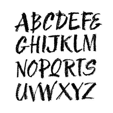 Carattere di alfabeto disegnato a mano di stile pastello o carbone di vettore. Alfabeto calligrafico su sfondo bianco