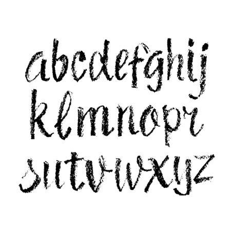 Polices alphabet dessinés à la main de style pastel ou charbon de bois de vecteur. Alphabet de calligraphie sur fond blanc Vecteurs