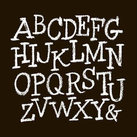 set of calligraphic pastel or chalk numbers. ABC for your design, pastel lettering on a black background Vettoriali
