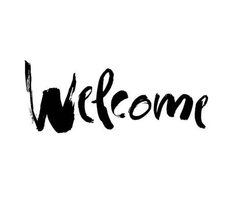 Welcome lettering. Handwritten modern calligraphy, brush painted letters. Vector.Template for banners, posters Vettoriali