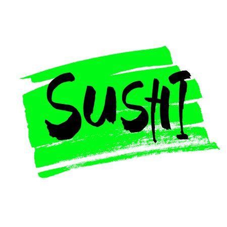 sushi menu calligraphy inscription on white label ink word sushu japanese food brush lettering vector