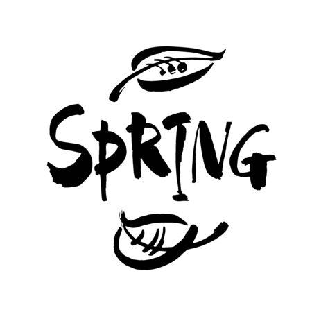 Spring Brush lettering isolated on background. Handwritten vector Illustration.