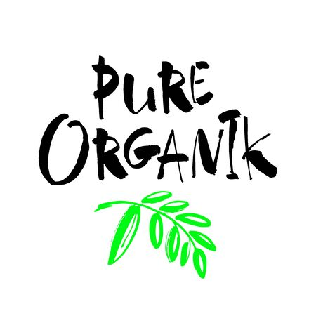 Pure organik. Handwritten lettering for restaurant, cafe menu, labels, logos, badges, stickers or icons. Calligraphic and typographic vector illustration
