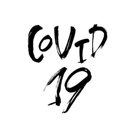 COVID - 19 hand lettering inscription text, global pandemic alert coronavirus, vector illustration 向量圖像