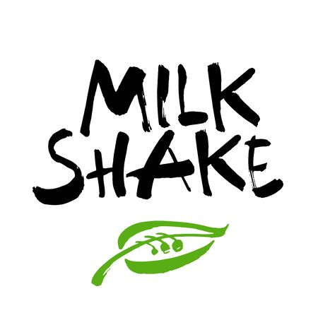 Milk shake. Ink hand lettering. Modern brush calligraphy. Handwritten phrase. Inspiration graphic design typography element. Cute simple vector sign.