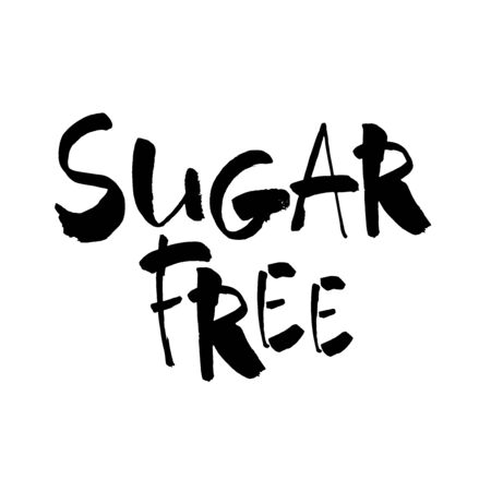 Hand drawn lettering. Ink illustration. Modern brush calligraphy. Isolated on white background. Sugar free. Vettoriali