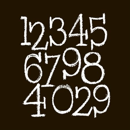 set of calligraphic pastel or chalk numbers. ABC for your design, pastel lettering on a black background 向量圖像
