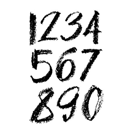 set of calligraphic pastel or charcoal numbers. ABC for your design, pastel lettering on a white background