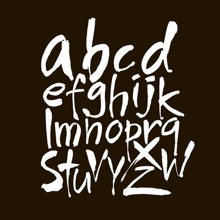 Vector Acrylic Brush Style Hand Drawn Alphabet Font. Calligraphy alphabet on a black background