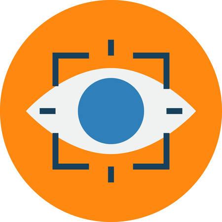 opthalmology: Retina Scan. Retinal Eye Scan Biometrics Technique Vector Icon. Illustration
