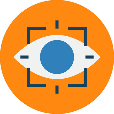 Retina Scan. Retinal Eye Scan Biometrics Technique Vector Icon. Illustration