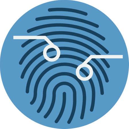 Fingerprint Scan Sensor. Biometrics Technique Vector Icon. Illustration