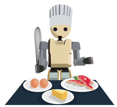 Humanoid Robot Chef Cooking and serving. Technology Futuristic Concept Illustration Vector.