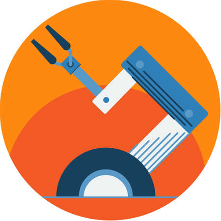 automated: Industrial Robot Arm. Automated Tool Vector icon. Illustration