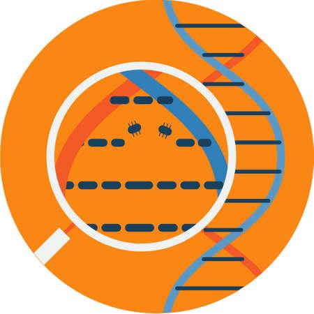 Viewing Nanobots through Microscope. Futuristic concept technology illustration vector icon. Illustration