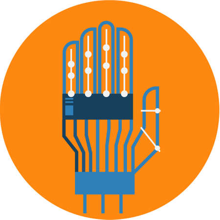 Robotic Hand Abstract Icon illustration.  Artificial Intelligence Futuristic technology concept vector. Transparent.