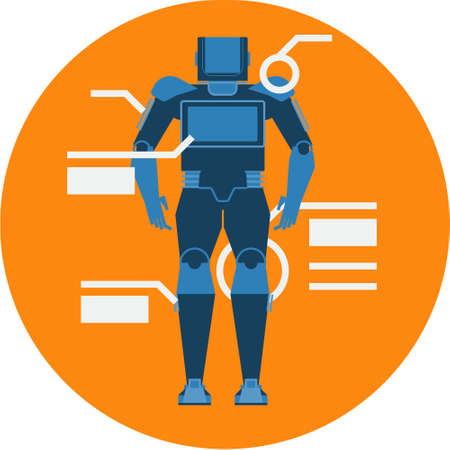 Service Robot Abstract Icon illustration.  Artificial Intelligence Futuristic technology concept isolated vector. Transparent.